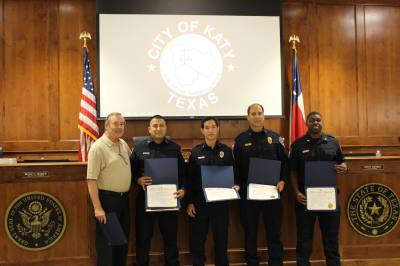 Mayor Chuck Brawner recognizes first responders for saving the life of a 45-year-old man who suffered chest pains.