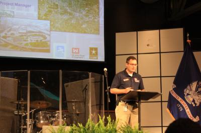 Andrew Weber, project manager for the Army Corps of Engineers Galveston District, discussed the Buffalo Bayou and Tributaries Resiliency Study on April 30 at Kingsland Baptist Church in Katy.
