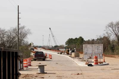 The FM 1774 overpass in the city of Magnolia is under construction by the Texas Department of Transportation.