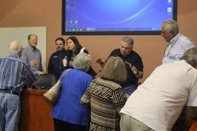 Lakeway City Council members field resident questions following a Feb. 4 special meeting on a possible new mixed-use development on Lohmans Crossing Road.