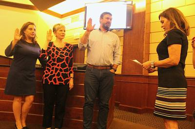 From left, Kara King, Andrea Willott and Andrew Clark were sworn in to Bee Cave City Council on May 14.