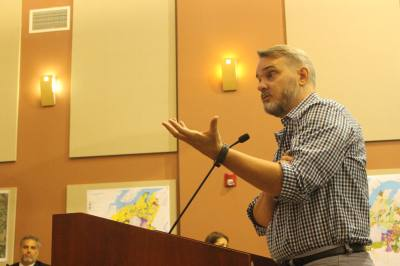 TexARTS Executive Director Jarret Mallon answers questions from Lakeway City Council during the May 20 meeting.