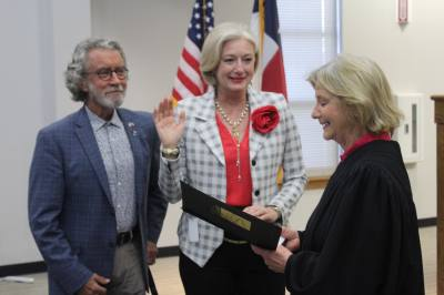 Leander Place 1 City Council Member Kathryn Pantalion-Parker, center, took her oath of office May 16.