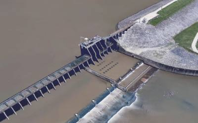 The Lake Houston dam is shown in a Google Earth Pro aerial photo.