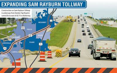 Construction on Sam Rayburn Tollway is underway from Denton Tap Road in Lewisville to east of US 75 in McKinney.