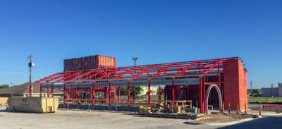 Huttou2019s first free-standing car wash is on track for a late summer or early fall opening.