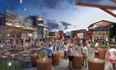 A rendering of a mixed-use development used in the mayoru2019s State of the City address.
