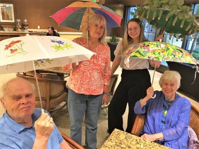 Belmont Village Senior Living West Lake Hills residents created umbrellas to be auctioned off to raise money for Relay for Life Westlake.