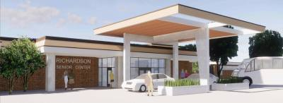 A concept rendering created by architecture firm PGAL shows what the new front entrance to the Senior Center could look like upon completion.