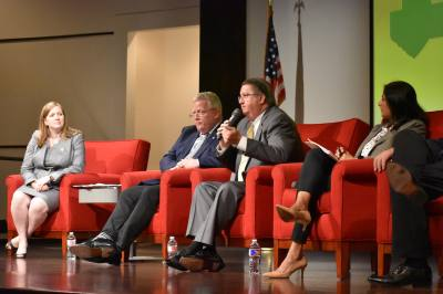 (From left to right) U.S. Rep. Lizzie Fletcher, Houston City Council Member David Robinson, METRO CEO Thomas Lambert and METRO Project Manager Priya Zachariah discuss Houston transportation needs and solutions at a town hall on Tuesday, May 28, 2019.