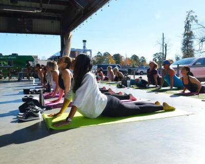 Drink mimosas and practice yoga at Deacon Baldy's.