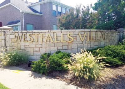 Westfalls Village is located southwest of Teel Parkway and Main Street.