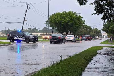 Stafford police kept an eye on road flooding near Hwy. 59.