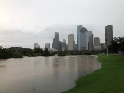 Eleanor Tinsley Park near downtown Houston was inundated with rainfall on Sept. 19 due to Tropical Depression Imelda.