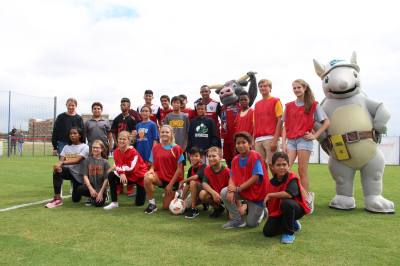 19 Frisco ISD middle school students participated in a soccer game following the Sept. 19 ribbon-cutting event.