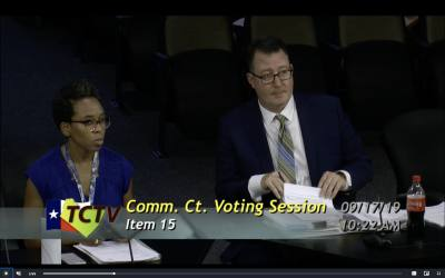 Travis County Budget Director Travis Gatlin and Senior Planning & Budget Analyst Aerin Pfaffenberger present updates to the proposed FY 2019-20 budget at a Sept. 17 Commissioners Court meeting.