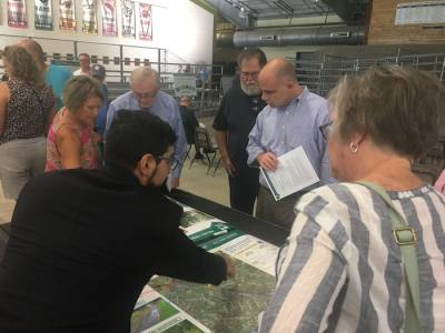 Residents gather at a Sept. 24 community engagement meeting hosted by the Harris County Flood Control District.
