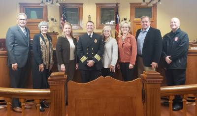 Hank Jones (center) was named the Williamson County fire marshal Oct. 29.